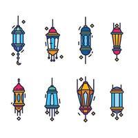 collection de lanternes eid mubarak vecteur