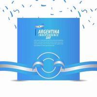 Joyeuse fête de l'indépendance de l'Argentine, affiche, illustration de conception de modèle de vecteur de bannière de ruban