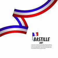 bonne fête de la bastille, affiche, illustration de conception de modèle de vecteur de bannière de ruban
