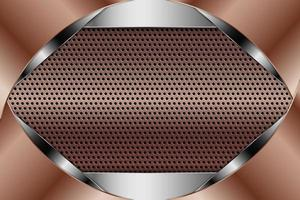 fond métallique avec texture perforée en cuivre. vecteur
