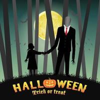 halloween, mince, grand homme, à, girl, dans, forêt vecteur