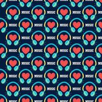 casque avec un coeur sur un fond bleu foncé. modèle sans couture de vecteur de musique dans un style plat