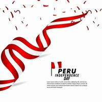illustration de conception de modèle de vecteur de célébration de la fête de l'indépendance du Pérou