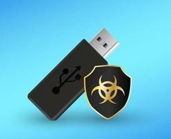 clé USB avec un ordinateur antivirus de bouclier de protection vecteur