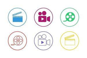 jeu d'icônes de film coloré vecteur