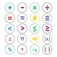 jeu de symboles mathématiques colorés vecteur