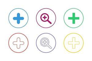zoom coloré dans le jeu d'icônes vecteur