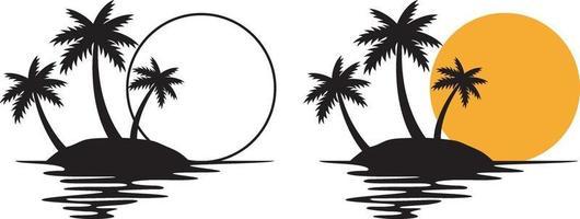 coucher de soleil palmier vecteur