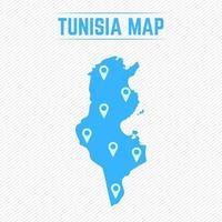 carte simple de la tunisie avec des icônes de la carte vecteur