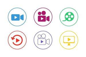jeu d'icônes vidéo coloré vecteur