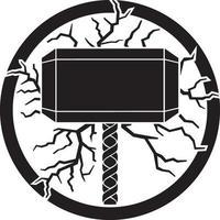 marteau de thor et éclairs vecteur