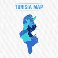 carte détaillée de la tunisie avec les régions vecteur