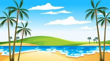 plage à la scène de paysage de jour avec fond de ciel vecteur