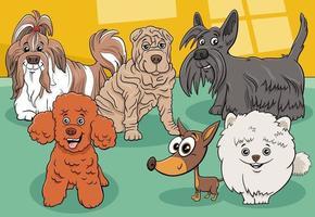 Groupe de personnages de bandes dessinées de chiens et chiots de race pure vecteur