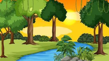 scène de paysage de rivière à travers la forêt vecteur