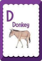 flashcard alphabet avec lettre d pour âne vecteur
