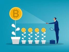 homme d'affaires tenant une lampe de poche découvrant une plante bitcoin de plus en plus haute que les autres. échange illustration vectorielle de pièce de monnaie concept vecteur