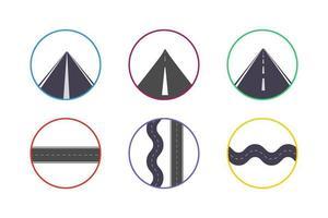 jeu d'icônes de route colorée vecteur