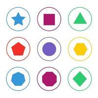 jeu d'icônes de formes 2d colorées vecteur