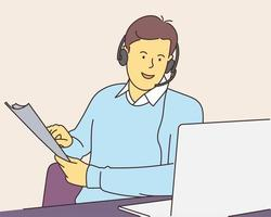 centre d'appels, aide, concept de communication d'entreprise. jeune homme consultant gestionnaire opérateur avec casque support client en ligne avec ordinateur portable. vecteur