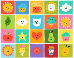 icônes colorées mignonnes vecteur