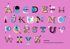 Mignon rose géométrique Memphis Style Alphabet Set Vector
