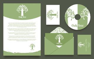 Oak Tree Logo Identité d'entreprise vecteur