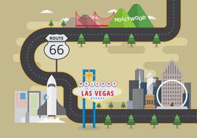 Carte de point de repère des États-Unis avec bâtiment célèbre ou symbole de ville américaine
