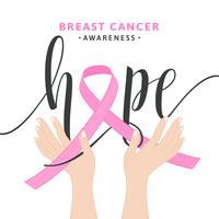 Concept de vecteur de ruban rose sensibilisation au cancer du sein
