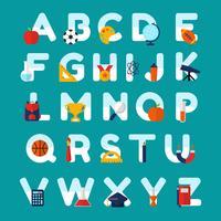 Vecteur alphabet sur le thème de l'école