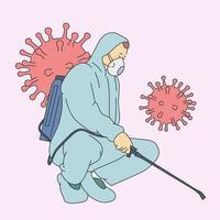 coronavirus, combat, infection, concept de protection. homme en combinaison de protection contre les virus et masque désinfectant les bâtiments du coronavirus avec le pulvérisateur. vecteur