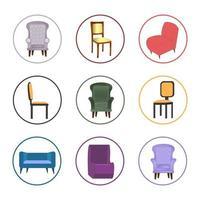 jeu d'icônes de chaise colorée vecteur