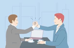 équipe commerciale, gagner le coworking, le succès, le concept de coopération pour la réalisation des objectifs. hommes d'affaires employés de bureau gestionnaires partenaires célèbrent ensemble. collaboration d'équipe au bureau vecteur