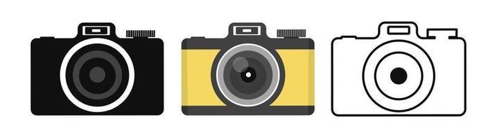 icône de la caméra dans un ensemble de style plat vecteur