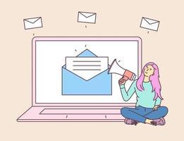 marketing numérique, concept de campagne par e-mail. jeune femme fille à l'ordinateur portable, tenant parler avec un mégaphone. illustration de style de ligne moderne vecteur