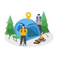 illustration vectorielle plane du camping alpiniste avec son partenaire vecteur