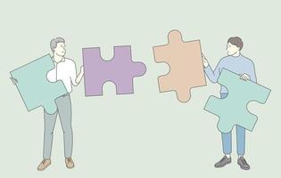 travail d'équipe, travaillant ensemble concept. équipe d'hommes d'affaires partenaires collaborateurs collectent des puzzles pour trouver une solution ensemble. vecteur