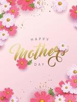 mise en page de fond de bannière de fête des mères avec flower.greetings et cadeaux pour la fête des mères dans un modèle d'illustration de style plat laïc. vecteur