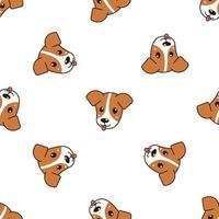 vecteur de dessin animé mignon chien mignon de fond sans soudure