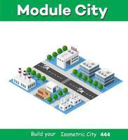 paysage d'usine d'objets industriels, usines, parkings et entrepôts. vue de dessus isométrique de la ville avec ses rues, ses bâtiments et ses arbres. industrie de la construction urbaine vecteur