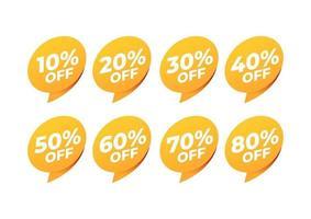 étiquettes de vente et de remise. icône d'étiquette de prix. 10, 20, 30, 40, 50, 60, 70, 80 pour cent de vente. vecteur