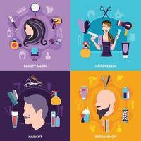 ensemble de concept de coiffeur vecteur
