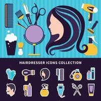 composition colorée de coiffeur vecteur