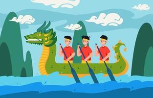 fond de festival de bateau dragon vecteur