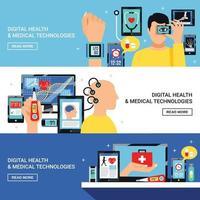 bannières plates de santé numérique mis en illustration vectorielle vecteur