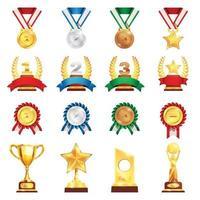 prix trophée médaille ensemble réaliste illustration vectorielle vecteur