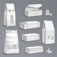 sachets de thé emballage illustration vectorielle réaliste vecteur
