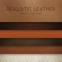 échantillons réalistes de texture de cuir mis en illustration vectorielle vecteur