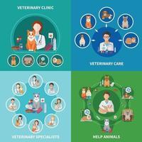 concept d & # 39; icônes plats vétérinaires vecteur