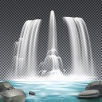 illustration vectorielle de fontaine aqueduc fond réaliste vecteur